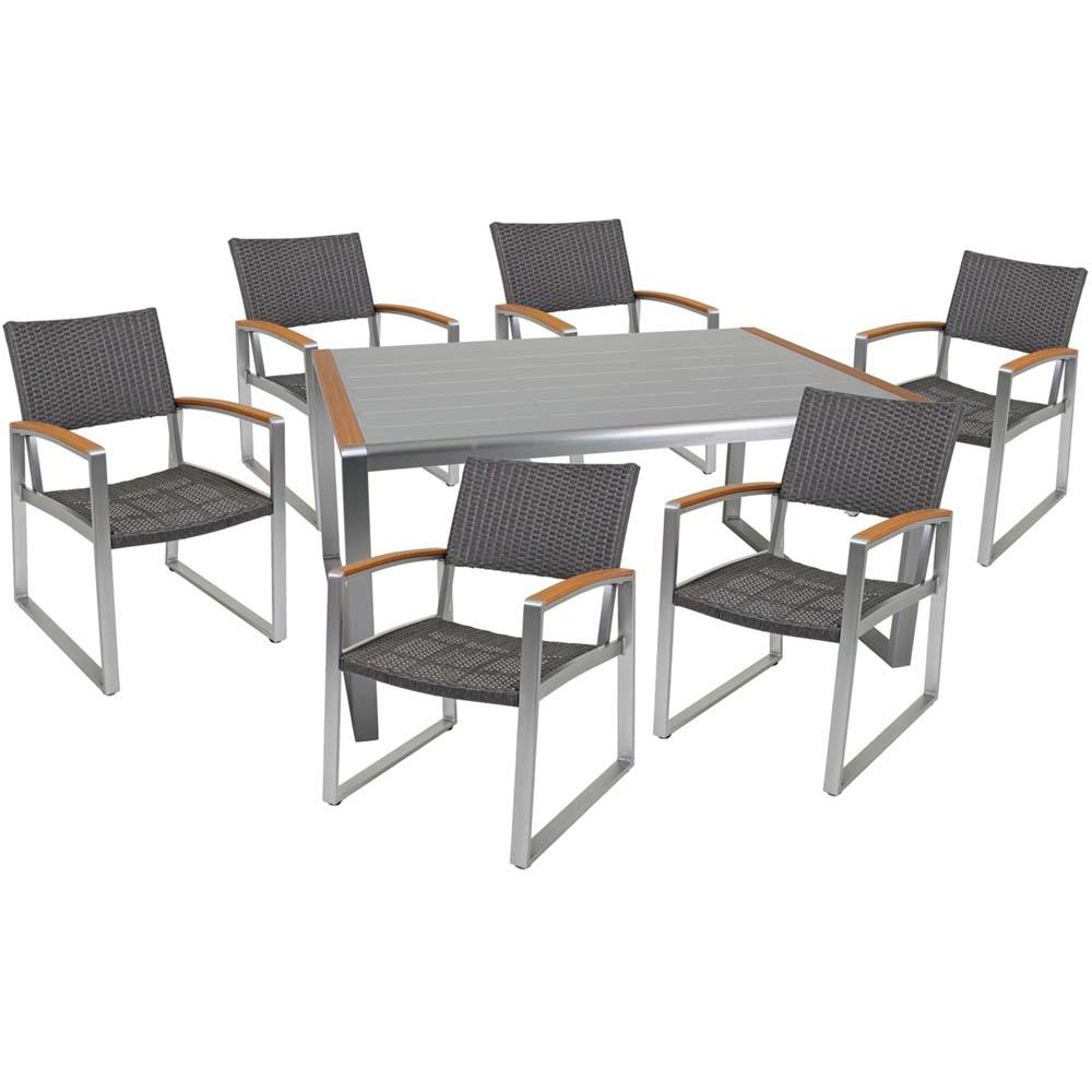 Gartenmöbel Sets - Tischgruppe, Aluminium, geflechtet, Glas, silber, Höhe 84 cm  - Onlineshop ETC Shop