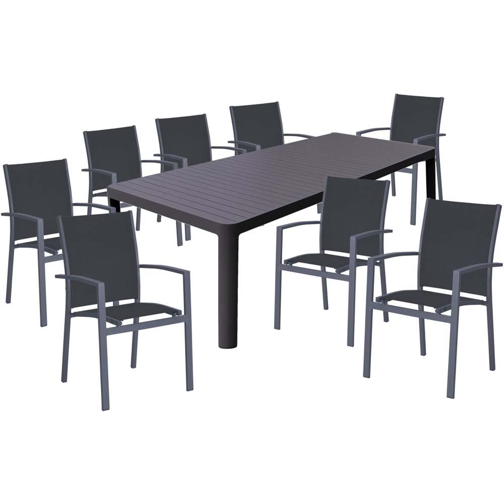 Gartenmöbel Sets - Tischgruppe AMIRA, 9 teilig, Aluminium, dunkelgrau  - Onlineshop ETC Shop