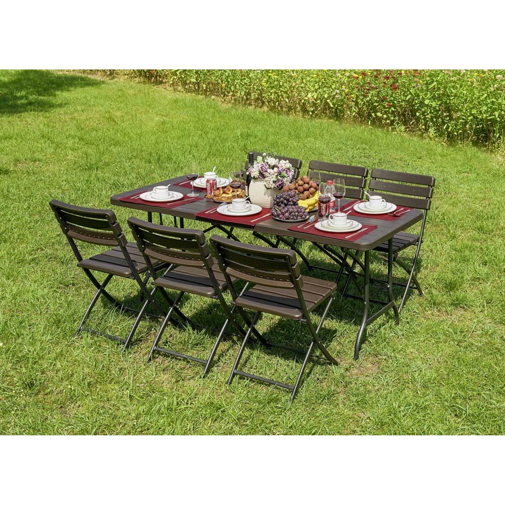 Gartenmöbel Sets - 7 Teilige Tischgruppe, Braun, Stahl und Kunststoff  - Onlineshop ETC Shop