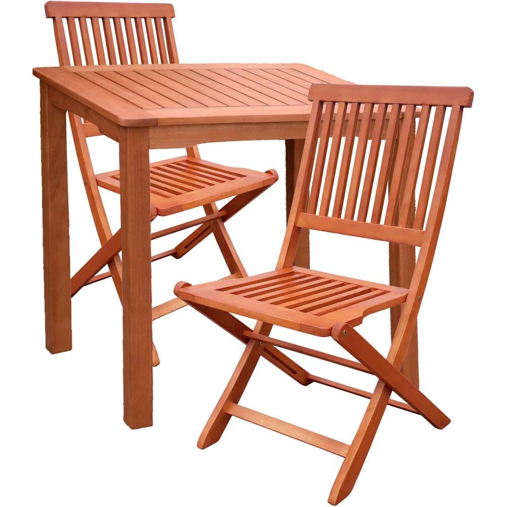 Gartenmöbel Sets - 3 Teilige Tischgruppe, Eukalyptus, Harms 985156 1  - Onlineshop ETC Shop