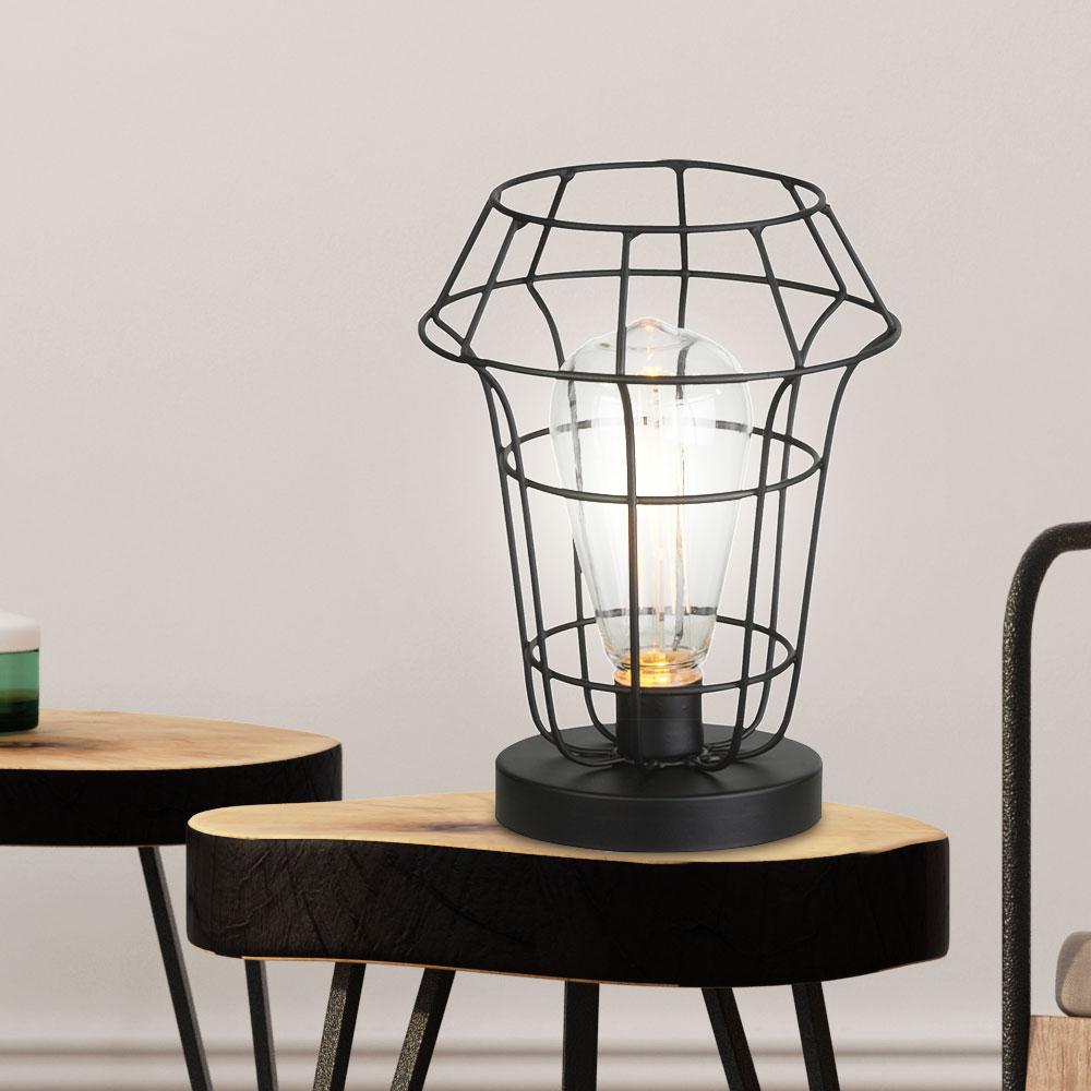 2x Set LED Retro Design Tisch Leuchten Wohn Zimmer Gitter Deko Lampen schwarz