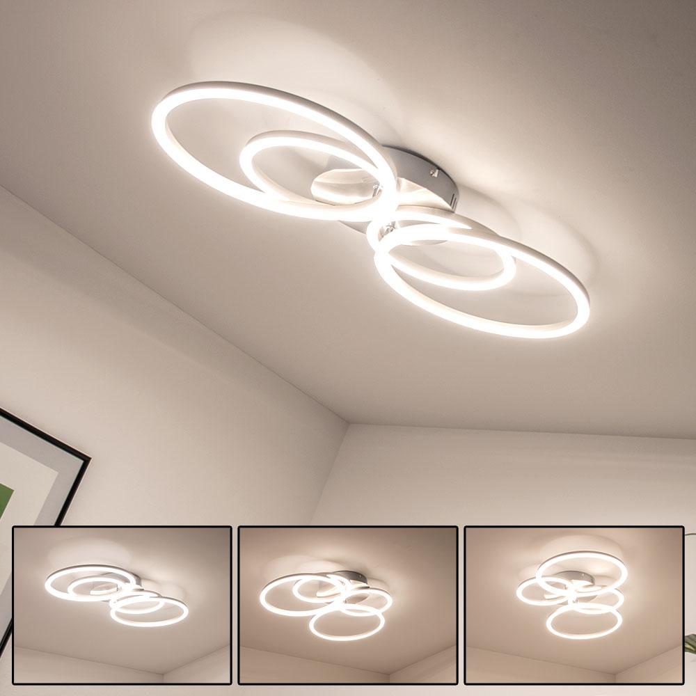 Led Ceiling Lamp Rings Silver H 7 5 Cm