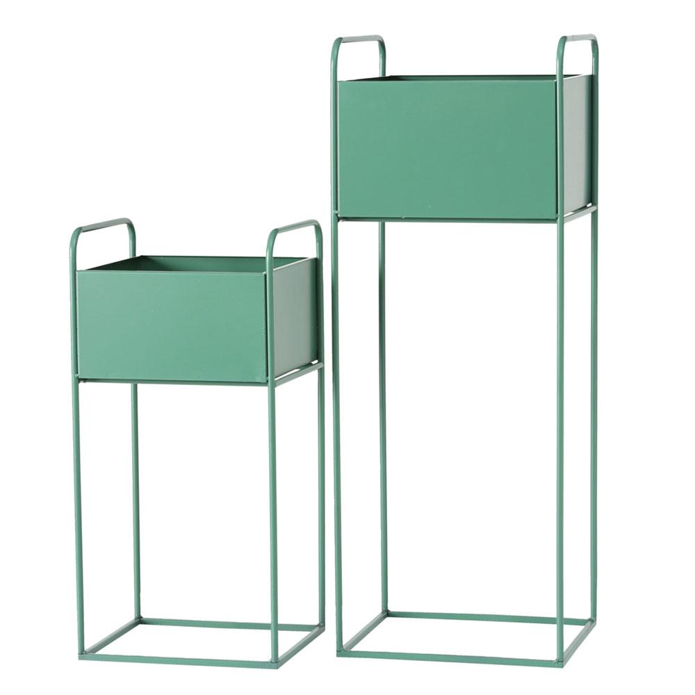 Gartendekoration - 2er Set Pflanztopfhalter, Eisen, grün, H 49 70 cm  - Onlineshop ETC Shop