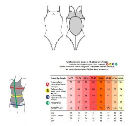 TURBO Badeanzug für Schwimmerinnen JUMP türkis-gelb Neon-Farben – Bild 5