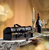Holztruhe Antik  für 1 Flasche Wein mit Lederbeschlägen – Bild 2