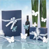 Weinverpackung Präsentkartons Modern Welle Blau für 2 Flaschen 25 St. – Bild 4