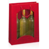 Tragetüte Welle Rot mit Fenster für 3 Flaschen 20 Stück – Bild 1