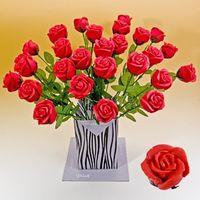 Marzipan Rose rot in Vasen Geschenkverpackung 30 x Edelmarzipan á 45g