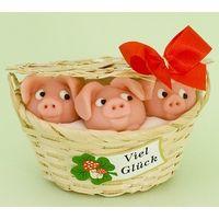 Marzipan Schweinekorb groß VE 6 Stück Edelmarzipan je Stück 50 g