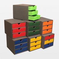 kleine Schubladenbox aus Karton DIN A6 rot VE 3 Stück