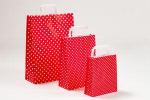 Papiertragetaschen Punkte Rot 18 x 8 x 22 cm VE 250 Stück – Bild 2
