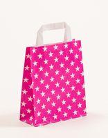 Große Papiertragetaschen Pink Sterne 32 + 12 x 40 cm VE 250 Stück – Bild 1