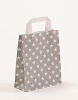Geschenktasche Papiertragetaschen Grau Sterne 18 + 8 x 22 cm VE 250 St – Bild 1
