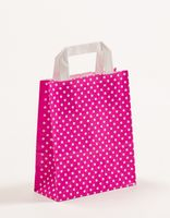 Papiertragetaschen Punkte Pink 18 +8 x 22 cm VE 250 Stück – Bild 1