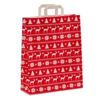Geschenktragetüten Weihnachten Norweger Rot 32 +12 x 40 cm VE 250 St. – Bild 1