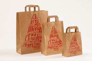 Papier Tragetüte Weihnachten Merry Christmas 32+12 x 40cm 25 Stück – Bild 2