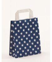 Geschenktasche Papiertragetaschen Blau Sterne 18 +8 x 22 cm VE 250 St. – Bild 1