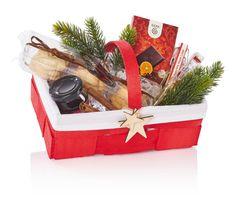 Spankorb Landpartie Weihnachten Rot mit Weißem Stoff 20 Stück – Bild 2