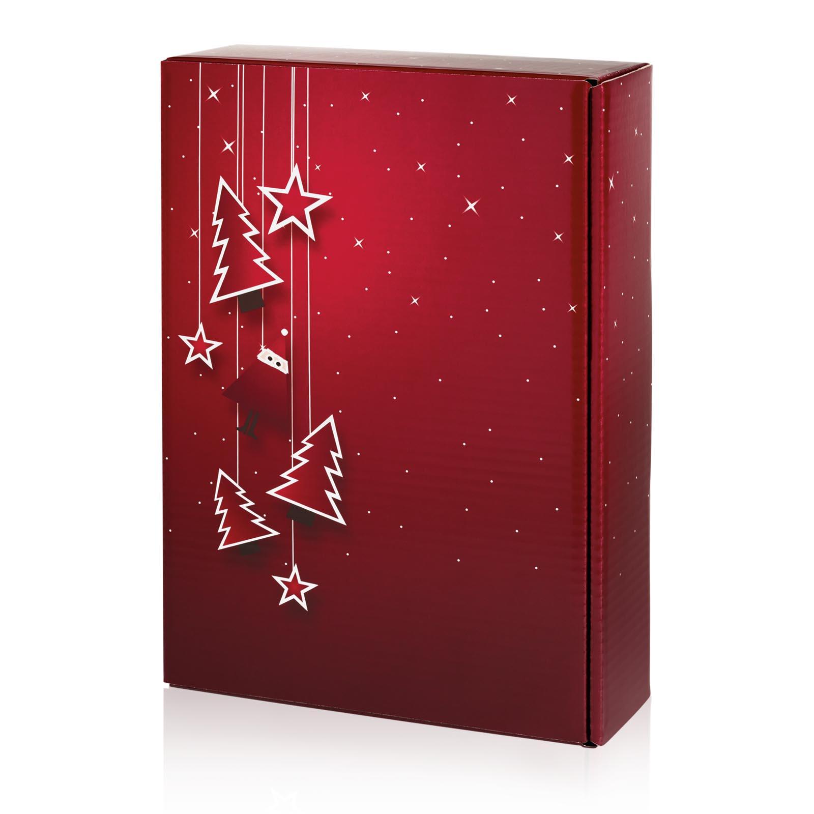Geschenkkarton Weihnachten.Geschenkkarton Weihnachten Santa Bordeaux 3er Präsentkarton Ve 25 Stck