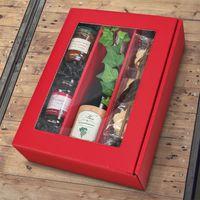 Weinpräsentkarton mit Fenster Passepartout Modern Rot 3er VE 25 Stück – Bild 2