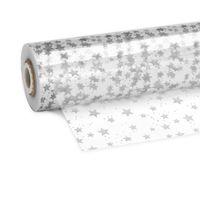 Geschenkfolie Klarsichtfolie mit Sterne in Silber 70 cm x 100 m
