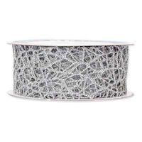 Geschenkband Gitter Silber 40 mm x 10 m
