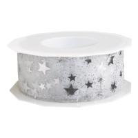 Geschenkband Organzaband Sterne Silber 40 mm x 20 m – Bild 1