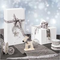 Geschenkband Metallic Sternenschweif Grau/Silber 22 mm x 15 m – Bild 2