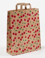 Große Papier Tragetüte Cherry Kirschen 32 + 12 x 40 cm VE 250 Stück – Bild 1