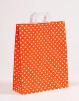 Große Papiertragetaschen Punkte Orange 32 x 12 x 40 cm VE 250 Stück – Bild 1