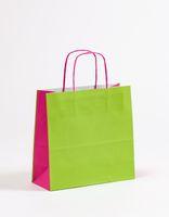 Geschenktasche Papiertragetaschen Grün/Pink 27 x 11 x 26 cm 250 Stück