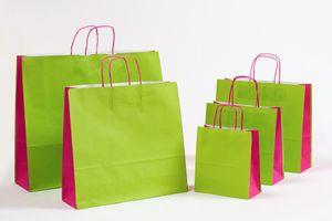 Geschenktasche Papiertragetaschen Grün/Pink 27 x 11 x 26 cm 250 Stück – Bild 2