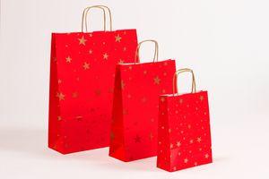 Geschenktüten Papiertragetaschen Sterne rot/gold 18x7x24cm  25 Stück – Bild 2
