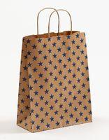 Geschenktaschen Papiertragetasche braun Sterne blau 22x10x28cm 250 St. – Bild 1