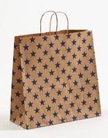 Geschenktaschen Weihnachten braun Sterne blau 35x14x35cm 250 Sück – Bild 1