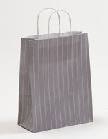 Geschenktasche Papiertragetüte Nadelstreifen Grau 22x10x28cm 250 St.