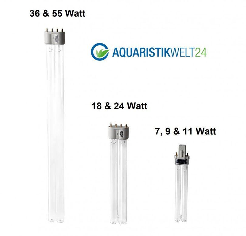 7-55 Watt UVC Ersatzlampe für Wasserklärer mit G23 und 2G11 Sockel