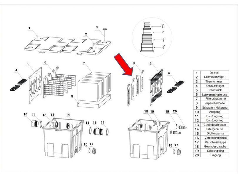 "Ersatzteil ""Filterschwamm Druckhalter"" PART 9 des Kammerfilters CBF-350"