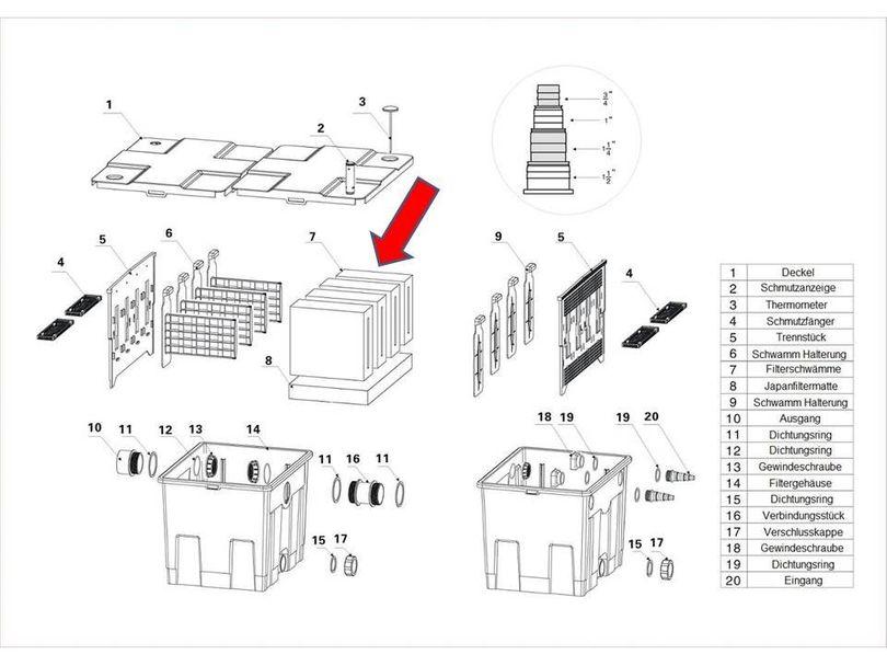 "Ersatzteil ""Filterschwamm FEIN"" PART 7 des Kammerfilters CBF-350 Bild 1"