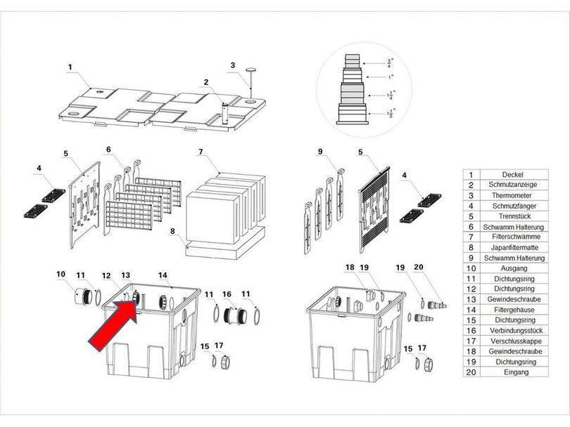 """Ersatzteil """"Überwurfmutter"""" PART 13 - Kammerfilters CBF-350"""