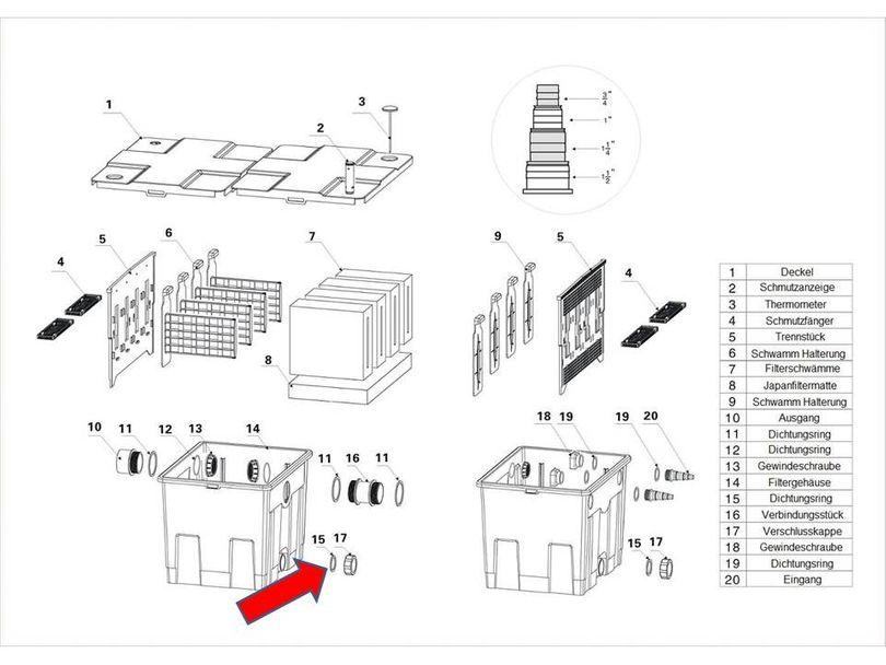 """Ersatzteil """"Dichtung Auslass unten"""" PART 15 des Kammerfilters CBF-350 Bild 1"""