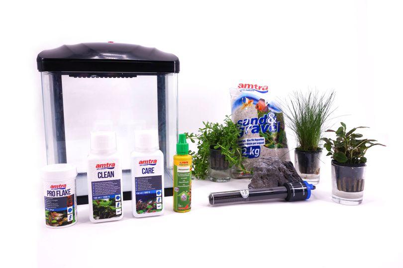 HR-230 schwarz inkl. Dekoration Nano Aquarium Komplettaquarium Filteranlage