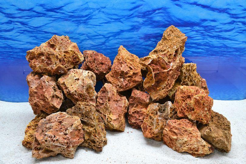 Pro Stein Aquarium Deko Versteinertes Laub rotbraun Natursteine 0,8-1,5 Kg Nr.57