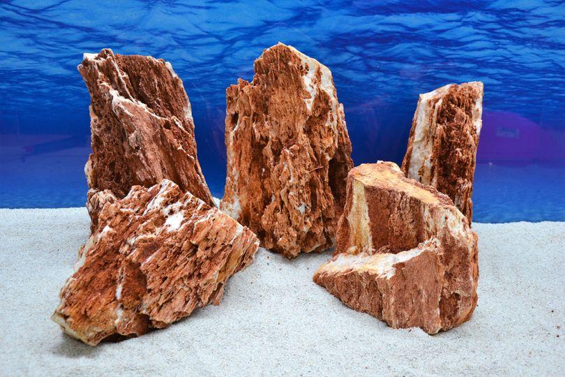 Pro Stein Aquarium Deko Samurai rot braun Laub Natursteine 4,5-5,5 Kg Nr.56