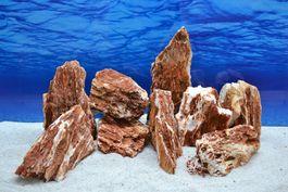 Pro Stein Aquarium Deko Samurai rot braun Laub Natursteine 2-3 Kg Nr.55 Bild 1