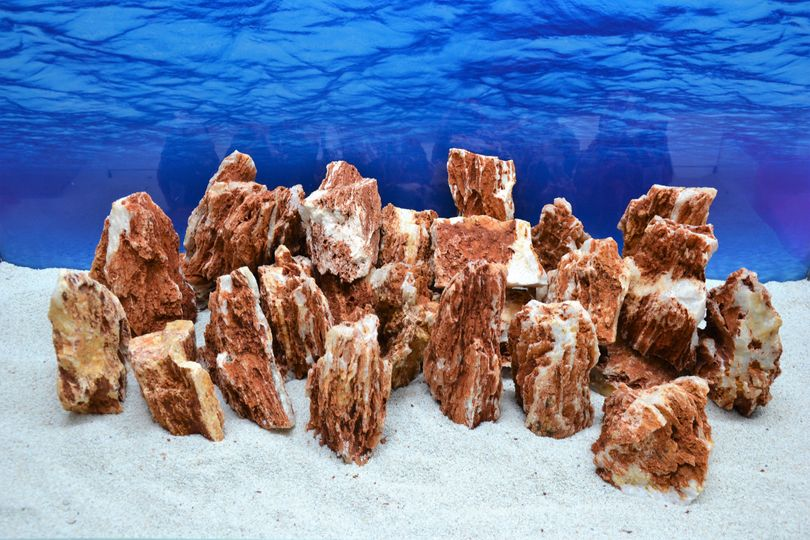 Pro Stein Aquarium Deko Samurai rot braun Laub Natursteine 0,8-1,5 Kg Nr.54