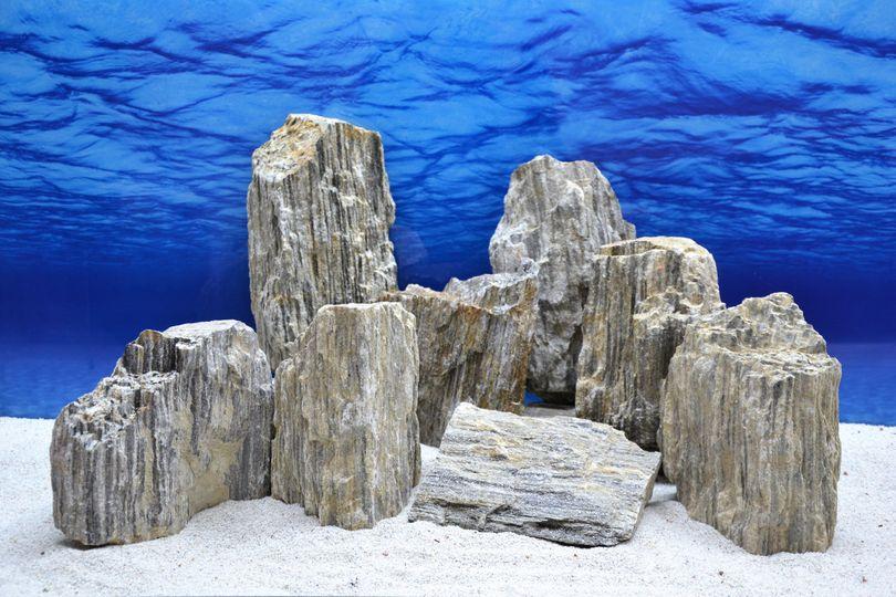 Pro Kiste Aquarium Deko Glimmer Wood Rock grau Glimmer Effekt 2,3-2,7 Kg Nr.47