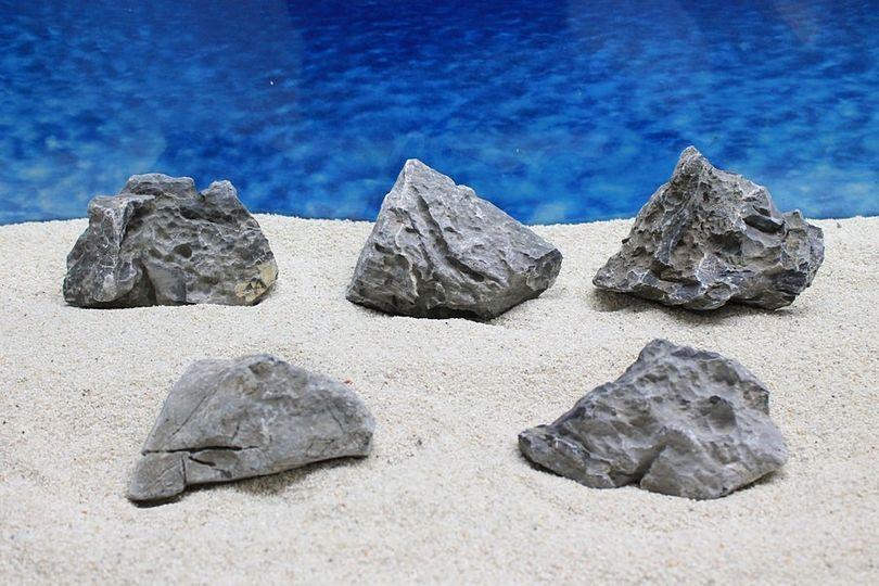 "Aquarium graue Dekosteine Seiryu Art.67 ""original Foto"" Größe M 12-18cm Nr.7595"