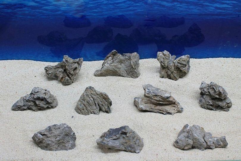 "Aquarium graue Dekosteine Seiryu Art.67 ""original Foto"" Größe M 12-18cm Nr.7614"