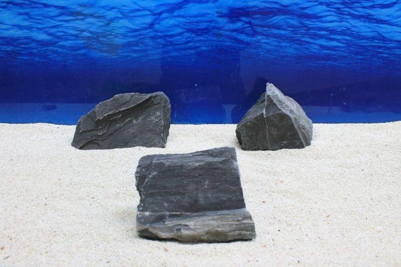 """Aquarium schwarze Dekosteine Art.66 """"original Foto"""" Größe L 12-30cm Nr.7733"""
